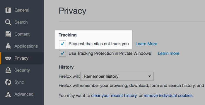 Firefox privacy preferences