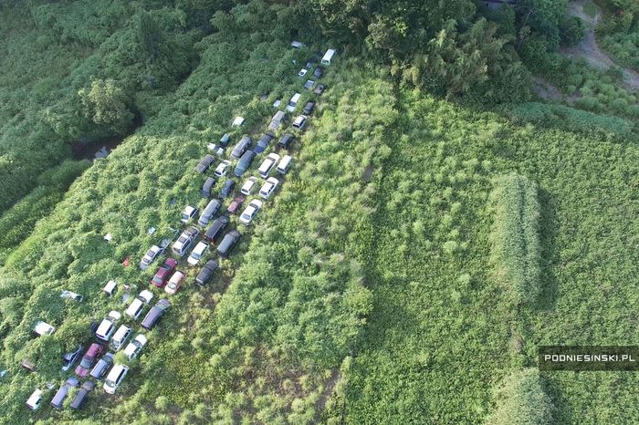 Site where vehicles have been dumped. Aerial photograph.