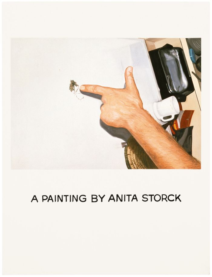 A painting of a hand pointing at what appears to be a stain on a countertop, with hand-lettered text below: A Painting by Anita Storck